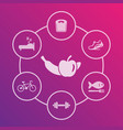 healthy lifestyle icons vector image