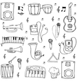 Many element hand draw music theme doodles vector image