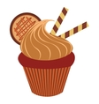 delicious cupcake sweet isolated icon vector image