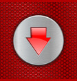 red perforated background with down arrow button vector image