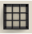 3d isolated empty black bookshelf vector image vector image