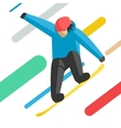 Snowboarder jumping pose on winter outdoor vector image