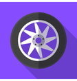 Colorful wheel and tyre icon in modern flat style vector image