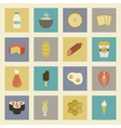 fast food colorful flat design icons set template vector image
