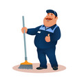 funny cartoon janitor with mop smiling fat man vector image