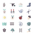 Garden Icons and Tools Icons Set Of Colorful Flat vector image