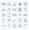 Line Holiday Halloween Icons Set vector image