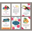 Set of summer hand drawn floral vintage cards with vector image