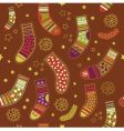 Christmas stocking seamless pattern vector image vector image