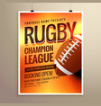 amazing rugby flyer poster design template with vector image