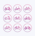 bikes icons bicycle bike cycling motorcycle vector image