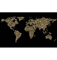 World abstract mosaic golden map on black vector image vector image