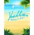 Hello summer - beach and sea boat vector image