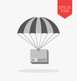 Parcel on parachute icon Delivery concept Flat vector image