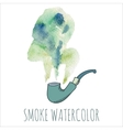 Cigarette smoke watercolor set vector image