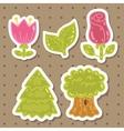 Cute cartoon rose tulip tree oak set vector image