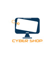 cyber computer shop design template vector image