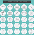 Dental care line icons set with Dental floss teeth vector image