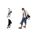Man with shorts and slippers using metal detector vector image