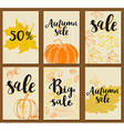 Set of autumn cards for seasonal sale vector image