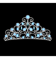 womens tiara crown wedding with blue stones and pe vector image vector image