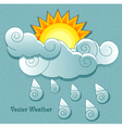 Sun behind the clouds and rain drops vector image vector image