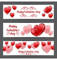 Happy Valentine day banners with red realistic vector image