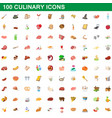 100 culinary icons set cartoon style vector image
