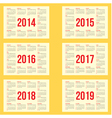 calendar grid for 2014 2015 2016 2017 2018 vector image