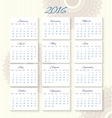 Calendar 2016 starting from monday vector image