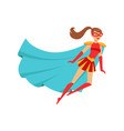 girl superhero flying in red costume with blue vector image