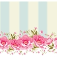 Ornate pink flower border with tile vector image