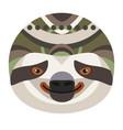 Sloth head logo decorative emblem vector image