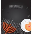 Hanukkah menorah and doughnut over chalkboard vector image