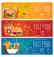 Set of banners for theme fast food with vector image