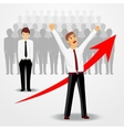 business man raising his hands up vector image