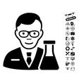 Chemist Icon With Flying Drone Tools Bonus vector image