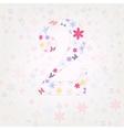 Number 2 floral vector image