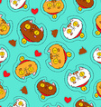 Cute cat hand drawn patch icon background vector image