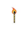Light Striped Match Stick On Fire Retro
