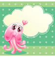 A lovable pink monster with an empty cloud vector image