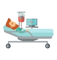 Patient in hospital bed being monitored vector image
