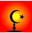 Symbol of Islam on sunset background vector image
