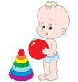 child with toys vector image