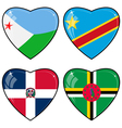 Set of images of hearts with the flags of Congo vector image