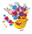 Hand drawn portrait of bird with floral head vector image