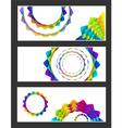 geometric rainbow pastel flowers business card se vector image