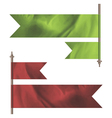 Green and red silk flags vector image
