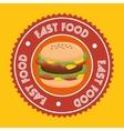 hamburger fast food emblem vector image