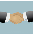 Handshake on light blue background vector image